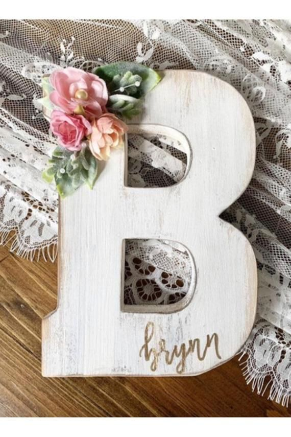 Nursery Letter Wooden Letter Wall Hanging Monogram Etsy Letter Nursery Decor Wooden Letters Decorated Wood Letter Crafts