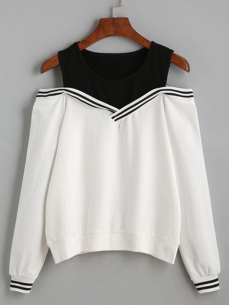 Shop Varsity Striped Contrast Open Shoulder Sweatshirt online. SheIn offers Varsity Striped Contrast Open Shoulder Sweatshirt & more to fit your fashionable needs.