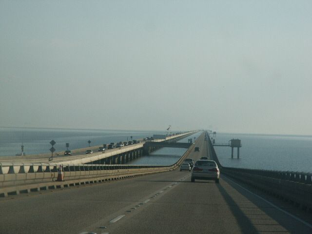 This bridge used to scare me when I was little because, once you are in the middle of the bridge, you cannot see land in any direction.  Lake Pontchartrain Causeway - New Orleans, Louisiana