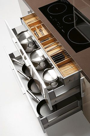 A really good storage idea to get all your pots and pans stored away  visit http://kdesigns2016.com