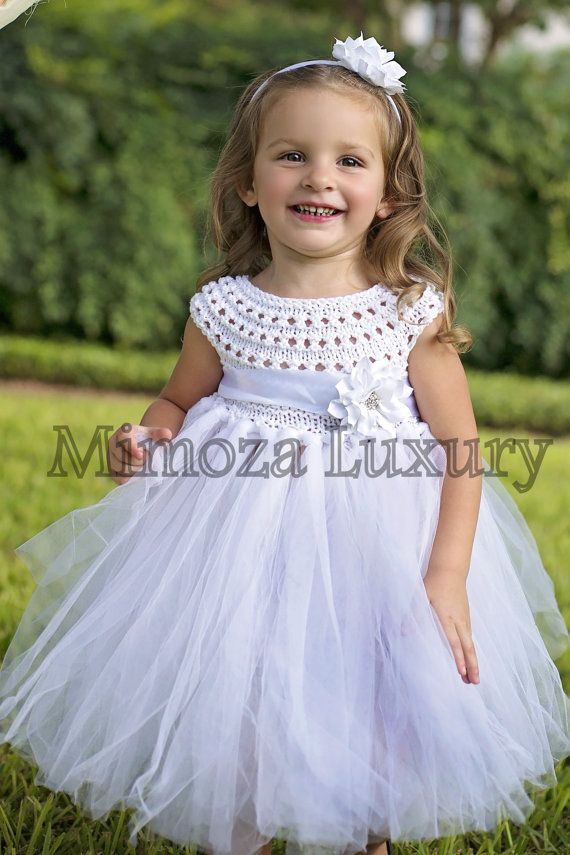 Super cute tutu dress in white color + matching satin headband with flowers    The top is hand knitted with high quality silk/ cotton yarn