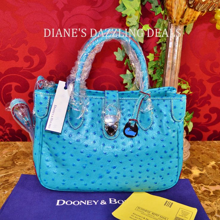 Dooney & Bourke NWT OSTRICH Leather Double Handle Tote Purse Jeans Blue Lovely