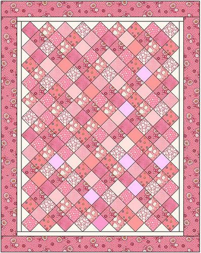 "pink charms quilt -- The quilt measures 56″ x 71″ made with 4"" squares."