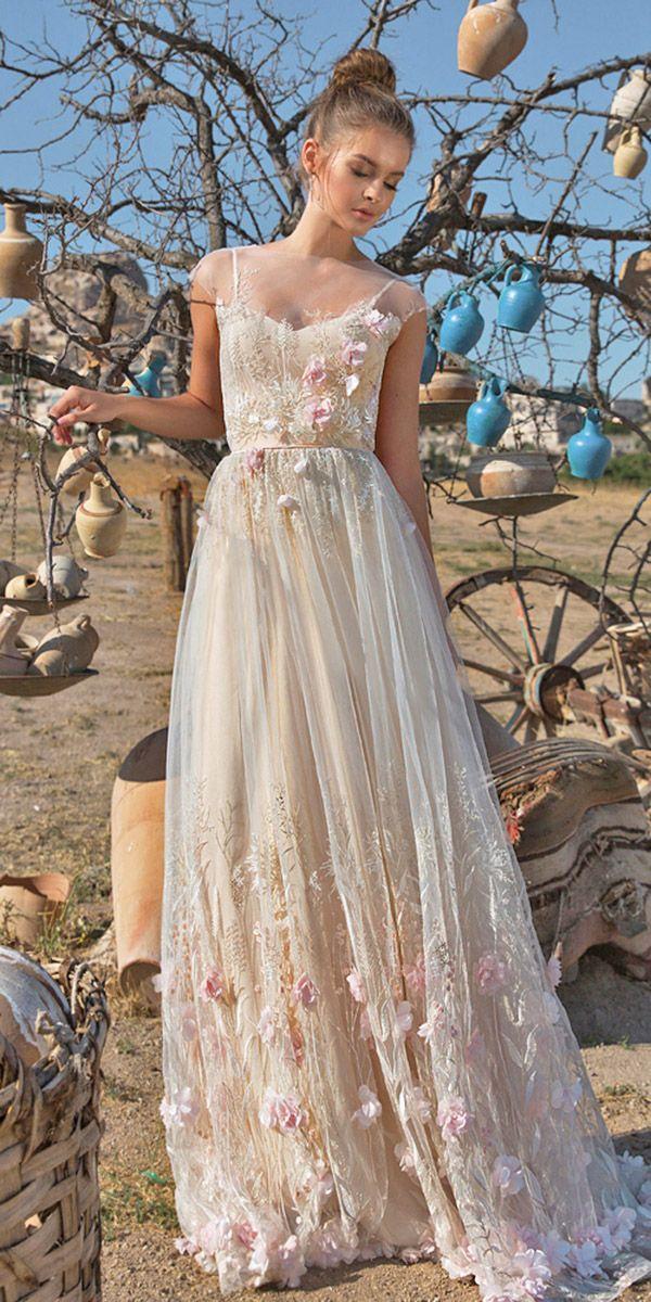 eva lendel wedding dresses 2018 spaghetti straps illusin neck boho style