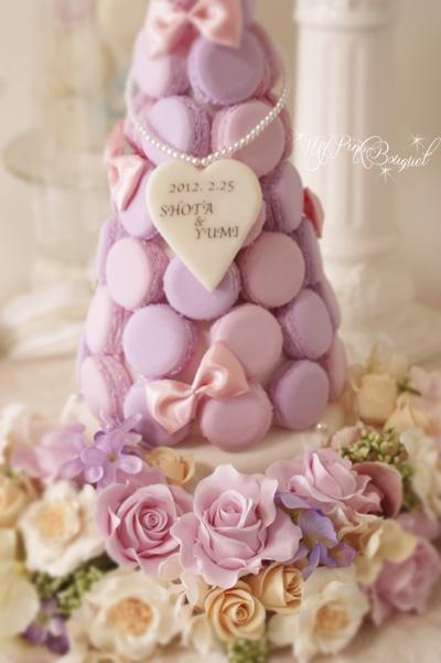021//マカロンカラー:淡いピンク×パープル、ガーランド:マカロンのお色、ミックスカラーのブーケにに合わせて、様々なお色のお花で。花嫁さまのリクエストで、タワー内にもおリボンをたくさん♪