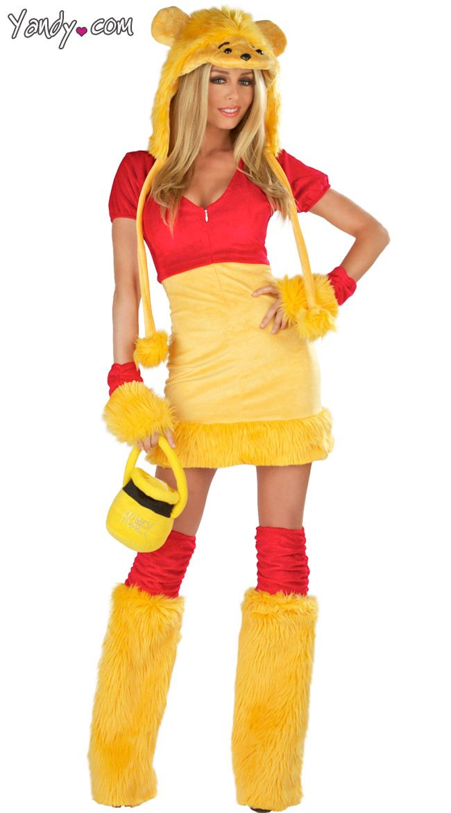 """winnie the pooh costume but $99 (yikes!) I already have a red tank top...would just need the yellow furry """"socks"""" and bottom ... and if I found yellow bottoms, they could also be used for something """"big bird"""" themed someday(?)"""