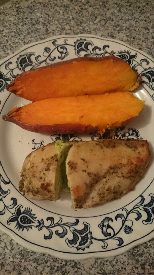 Kumara and free range chicken stuffed with basil pesto.