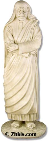 Life Size Mother Teresa Statue for outdoors - Life-size statue of mother Theresa the famous Catholic nun who did so much for mankind. A beautiful piece for a garden area or a church. This statue is made from durable fiberglass and can go outdoors in year-round weather. This piece also has several finish options available for it. To learn more about the great mother Theresa please go here...