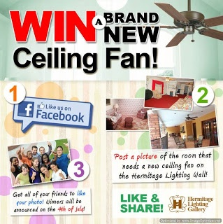 Sweepstakes ~ Win A Ceiling Fan From Hermitage Lighting Gallery ~ USA
