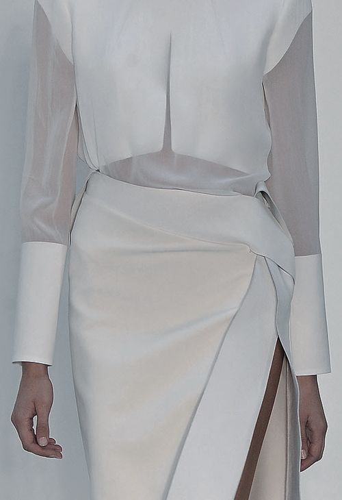 Sheer blouse & wrap skirt, layered white fashion details // Dion Lee Spring 2013