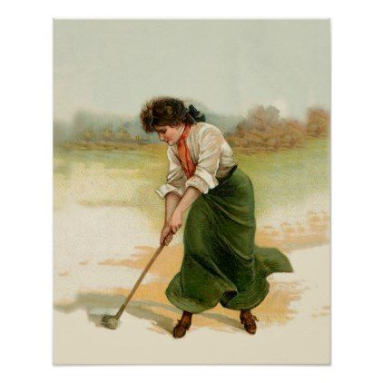 Golf Poster  Young Lady Golfer Vintage Golf Image - image gifts your image here cyo personalize