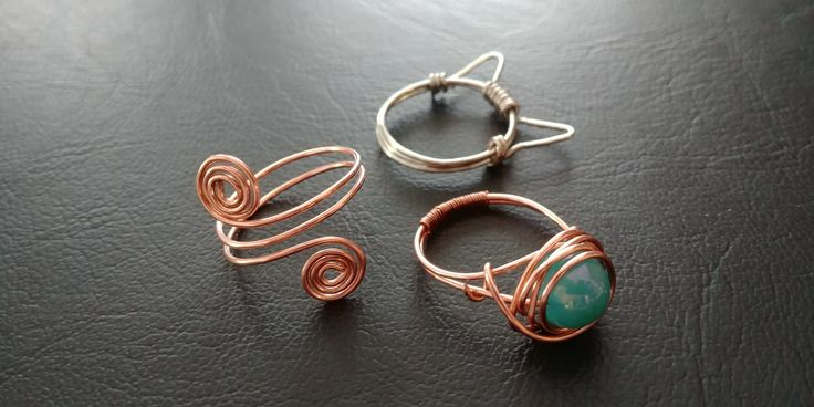 Handmade Wire Rings, cat ring, kitty, copper, silver, blue bead, jewelry