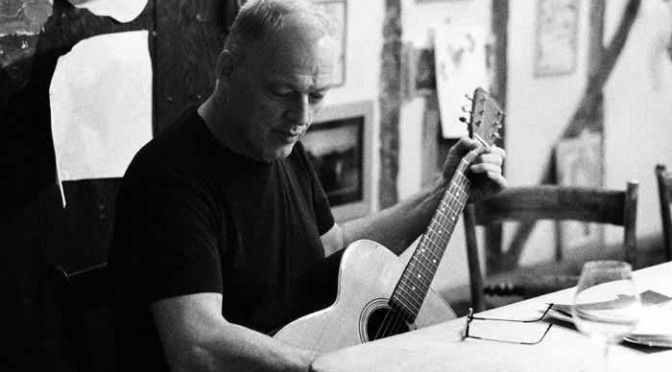 Pink Floyd Photos - David Gilmour black and white shot playing acoustic guitar