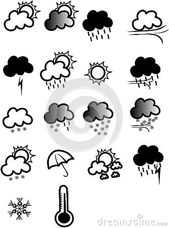 Set of vector weather icons illustration.