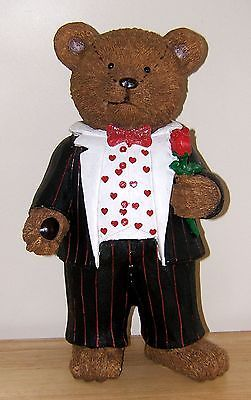 Large Valentine Teddy Bear 13 in.Resin Red Rose Heart Love Sparkle Sweet Be Mine