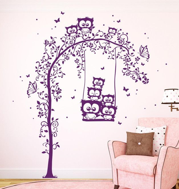 die besten 25 wandtattoo eule ideen auf pinterest eulen silhouette scherenschnitt. Black Bedroom Furniture Sets. Home Design Ideas