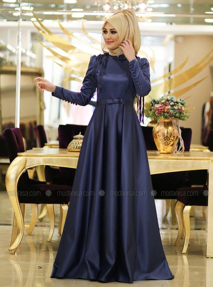 Merve giyim tesettür indigo elbise modelleri uzun kollu tesettür düğün elbisesi modelleri Enmodelleri