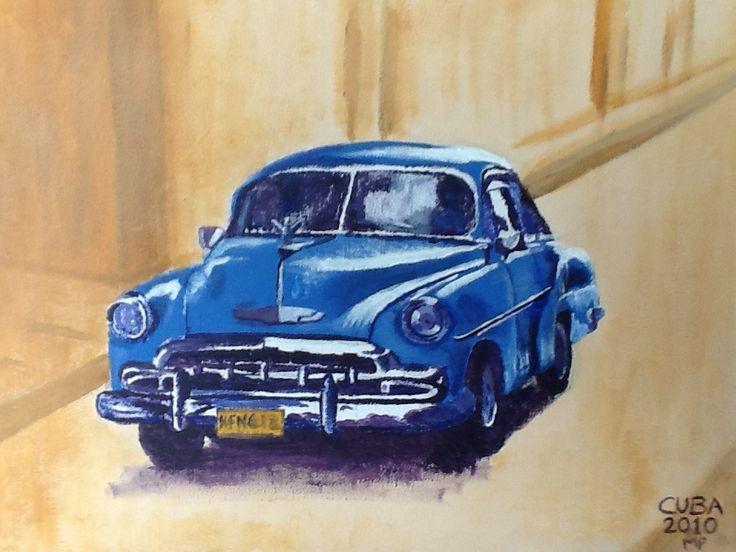 Herinnering aan onze vakantie op Cuba Acryl op canvas