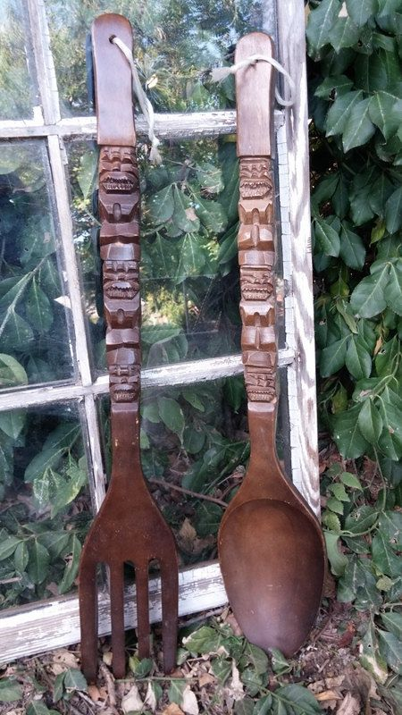 Vintage Large Tiki Wooden Fork And Spoon 28 Quot Tall 1970 S