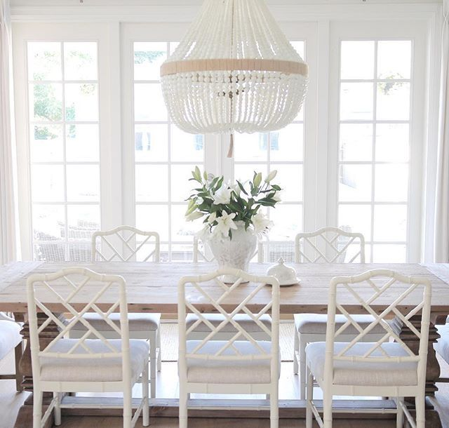 Ballard designs Dayna chairs. Ro Sham beaux chandelier, beaded chandelier, coastal style , hamptons style , restoration hardware, French doors