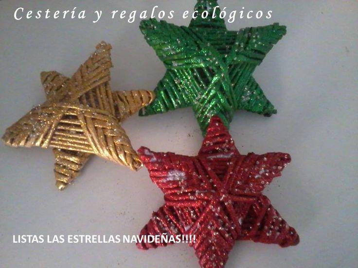 Karácsonyi csillag                                     Cestería en papel. Estrellas para fiesta o Navidad