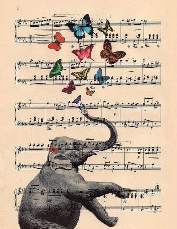 ART butterflies and musical elephant ART butterfly by BlackBaroque. , via Etsy.
