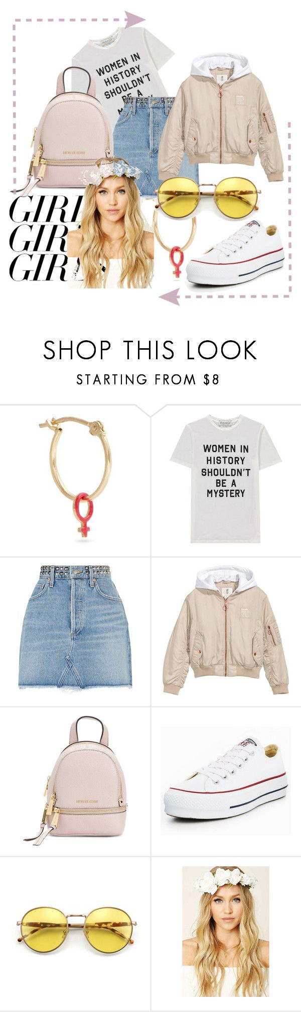 """""""Love spring"""" by r-alisa ❤ liked on Polyvore featuring Alison Lou, Être Cécile, AGOLDE, H&M, MICHAEL Michael Kors, Converse, Forever 21, womensHistoryMonth, pressforprogress and GirlPride"""