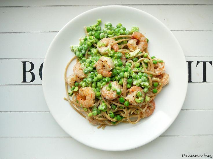 Delicious blog: Celozrnné špagety s hráškovým pestem a krevetami #těstoviny #pesto #hrášek #krevety