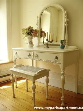 Hand Painted Distressed Shabby Chic Vintage Vanities by My Paris Apartment - traditional - makeup mirrors - toronto - My Paris Apartment Antiques