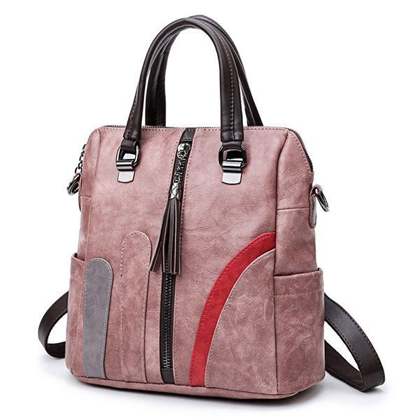 Frauen weiches Leder Multifunktions-Rucksack Vintage Patchwork Crossbody Taschen…