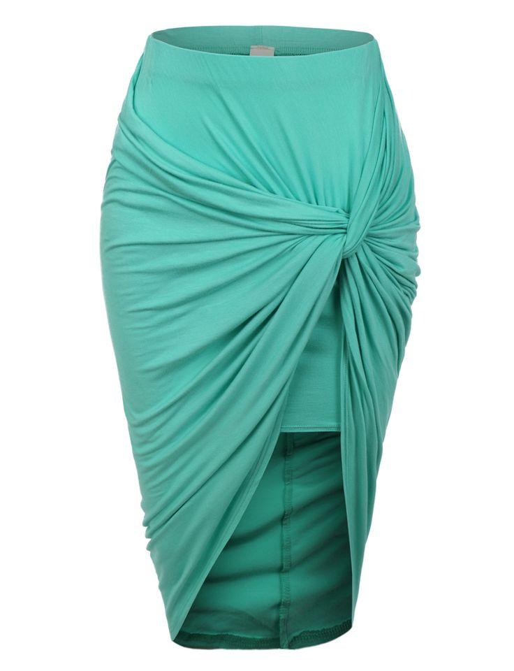 Womens Asymmetrical Banded Waist Wrap Cut Out Hi Low Skirt