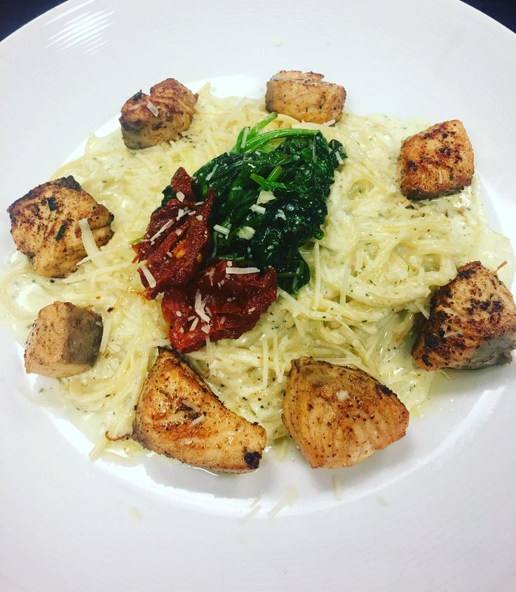 (OC)I made lemon and herb marinated salmon with pesto Alfredo pasta topped with sautéed spinach and sun dried tomatoes (3024x3467)