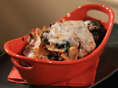 Lazy Lasagna with Lamb Ragu, Spinach and Ricotta Recipe courtesy of Rachael Ray