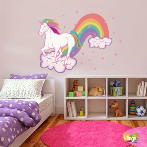 Vinilo Decorativo Infantil - UNICORNIO, RAINBOW colores, flores. WALL STICKER DECOR