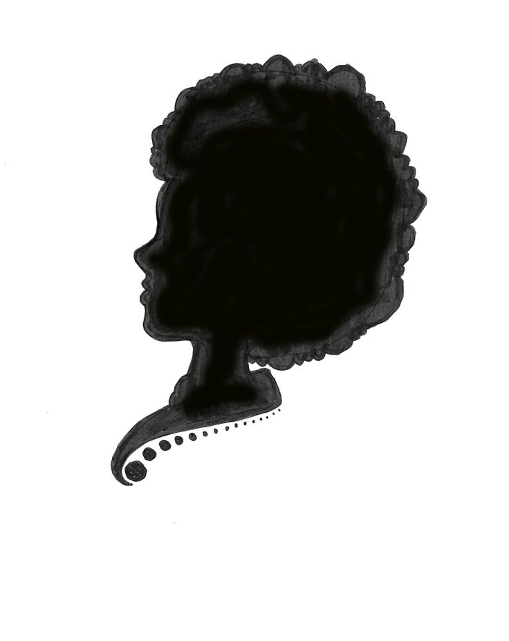 clipart of silhouttes of black women afro | Black and White Silhouettee of a Girl