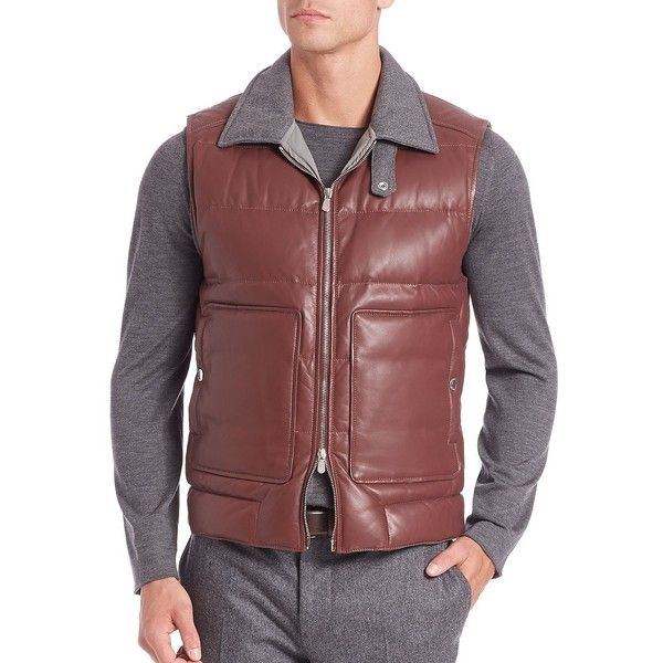 Brunello Cucinelli Leather Vest ($2,573) ❤ liked on Polyvore featuring men's fashion, men's clothing, men's outerwear, men's vests, apparel & accessories, burgundy, mens zip vest, mens sleeveless vest, mens quilted vest and mens burgundy vest