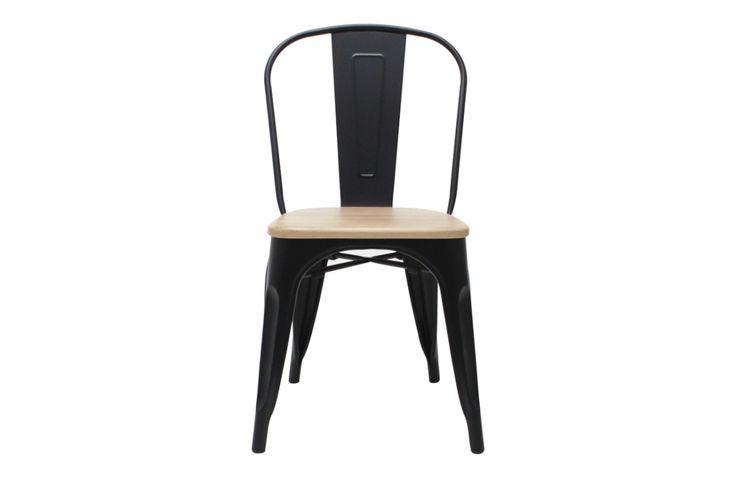 Silla tolix asiento madera replica negro - SILLAS Y POLTRONAS 70M Rematime