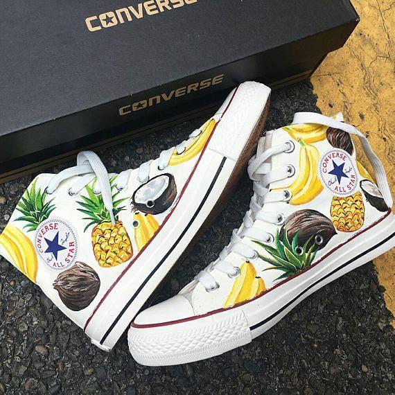 Custom Painted Vegan Converse, Custom Vegan Painted Shoes, Custom Vegan Painted Sneakers, Tropical Summer Fruits, Personalized Painted Shoes – Shoes