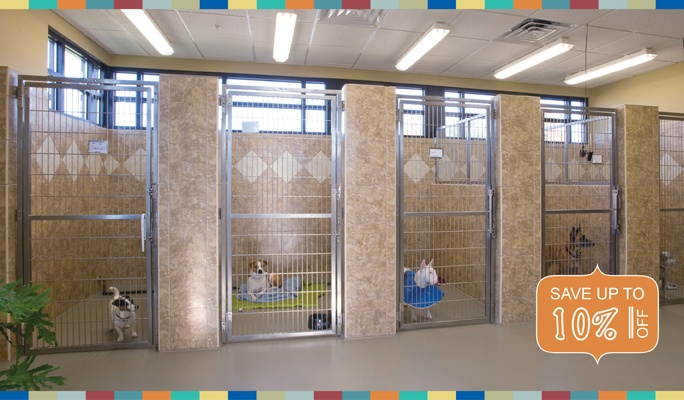 Housing description: dog kennels.  What we love: aesthetically pleasing, nice open barred doors allow for connection between adopter and dog.  What we'd love to see: double sided kennels.  A single kennel does not meet the dogs need for elimination away from where they sleep/eat. A separate elimination area should be provided in all dog housing areas where dogs will be housed for more than 6-8 hours.  Best use for single kennels - display area in adoption - not for 24 hour housing.