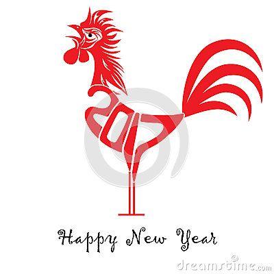 Концепция птица петух Китайский Новый Год петуха. Вектор рисованной эскиз иллюстрация