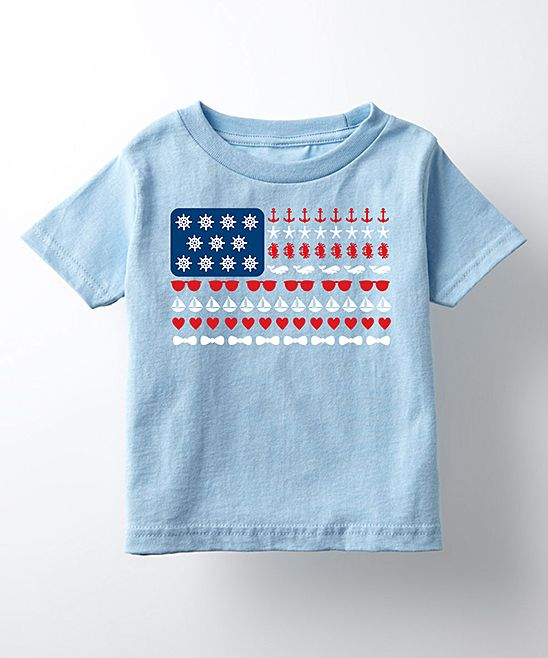 Light Blue Beach-Theme Flag Tee - Toddler