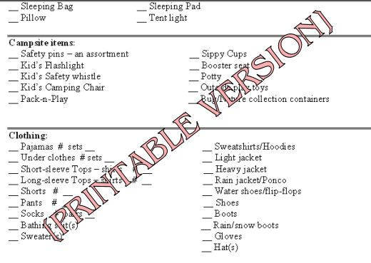cubscout camping list