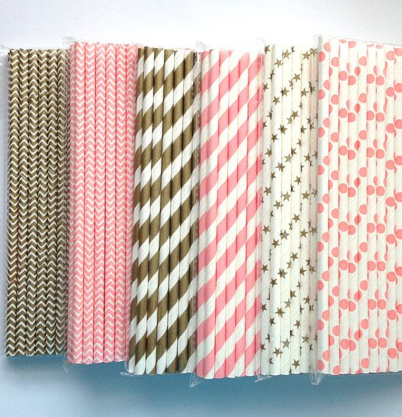 Pink or Gold Paper Straws in Chevron, Stripes, Stars or Polka Dots by The Pretty Party Shoppe
