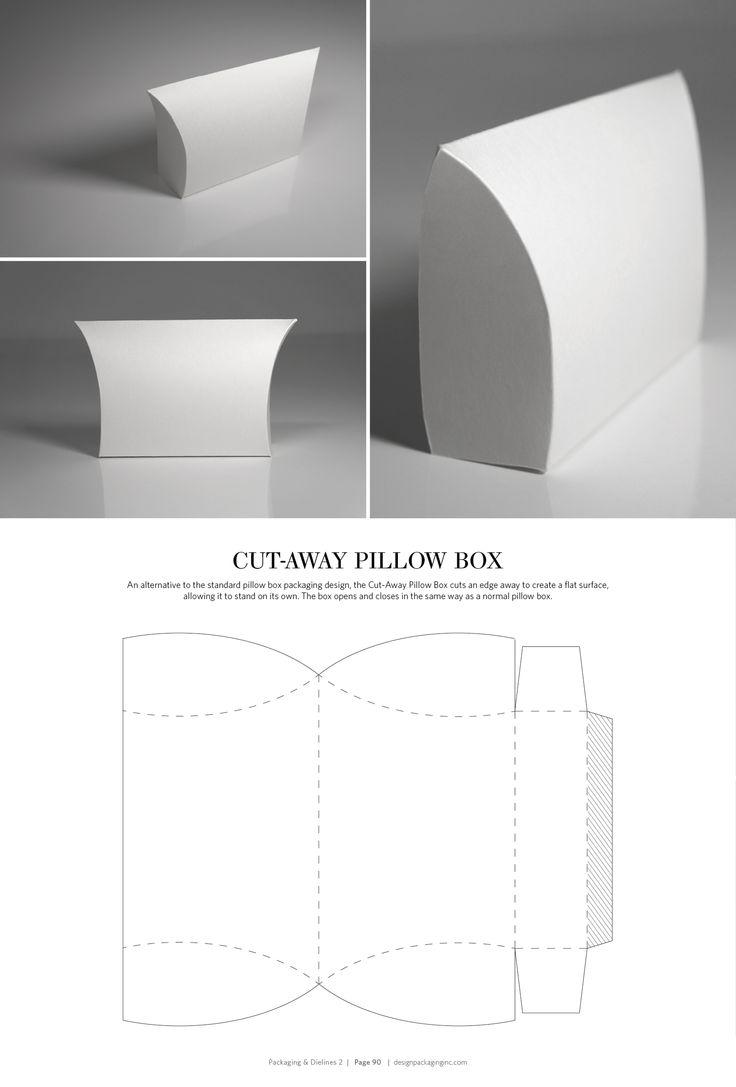 Cut-Away Pillow Box – structural packaging design dielines