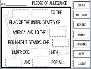 Every morning students will say the Pledge of Allegiance. I believe it is important to teach students the words because they need to know about our Country's independence. Also, they will be reciting this pledge for the rest of their lives so it is important they learn at a young age.