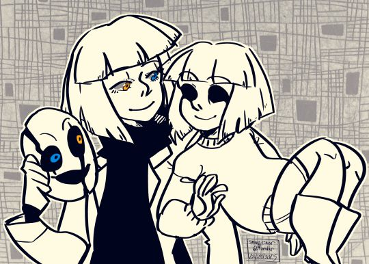 """by sunnycider: """"Goopy Soul hanging with CORE!Frisk"""""""