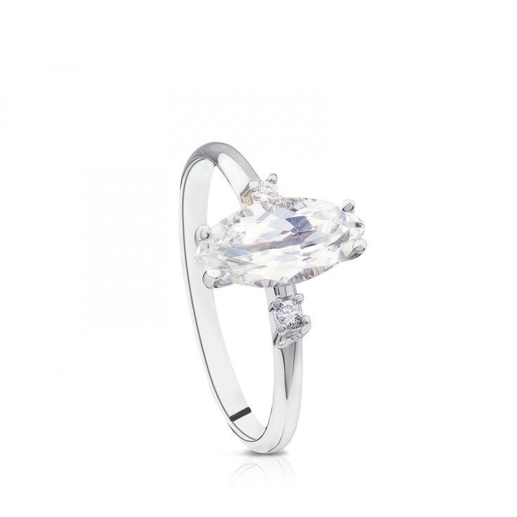 Anillo Eklat de Oro blanco con Diamantes y Topacio - Tous