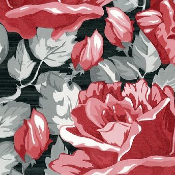 San Priamo bloem rood/zwart  - behang van de behangwinkelier