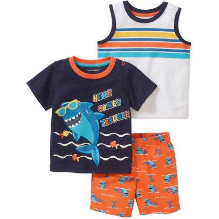 Healthtex Newborn Baby Boy Short Sleeve Graphic Tee Tank and Short Clothing Outfit Set, Size: 0 - 3 Months, Blue