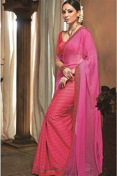 Beautiful Half-Half Printed Cotton,Chiffon Pink Saree